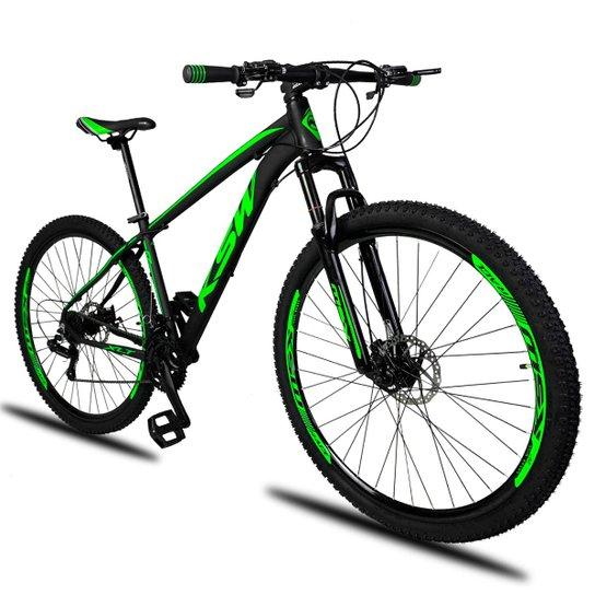 347570120 Bicicleta Aro 29 KSW XLT 21v Câmbios Shimano Freio a Disco Mecânico com  Suspensão - Preto