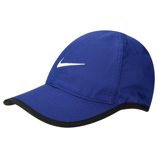 0b8c48406504e Boné Infantil Nike Aba Curva Featherlight - Azul Royal+Preto
