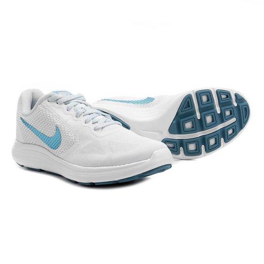 Tênis Nike Revolution 3 Feminino - Branco e Azul Claro - Compre ... 20100cd79715b