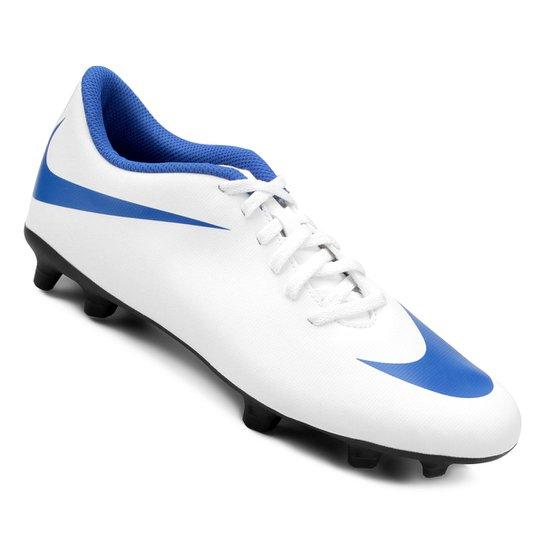 Chuteira Campo Nike Bravata 2 FG - Branco e Azul - Compre Agora ... 67f09198ee510
