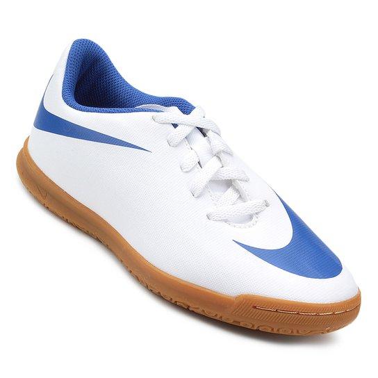 Chuteira Futsal Infantil Nike Bravata 2 IC - Branco e Azul - Compre ... 6e78e37846f76