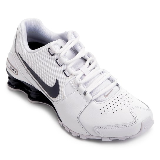 c4debbd4585 Tênis Couro Nike Shox Avenue LTR Masculino - Branco e Azul - Compre ...