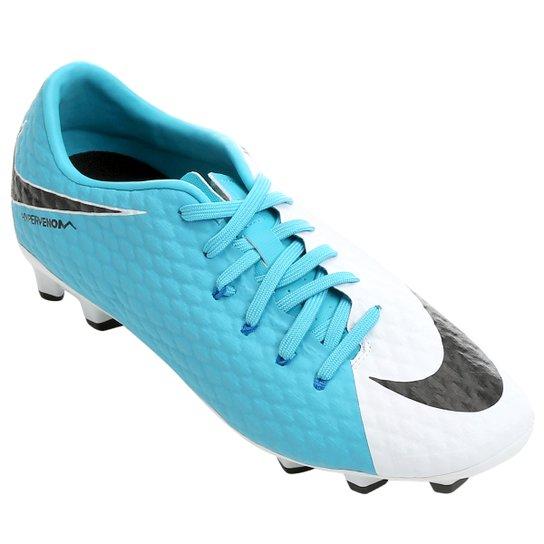 7e3002112ce34 Chuteira Campo Nike Hypervenom Phelon 3 FG - Branco e Azul - Compre ...