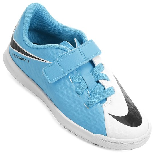Chuteira Futsal Infantil Nike Hypervenom Phade 3 (V) IC - Branco+Azul 660e4c76d3a26