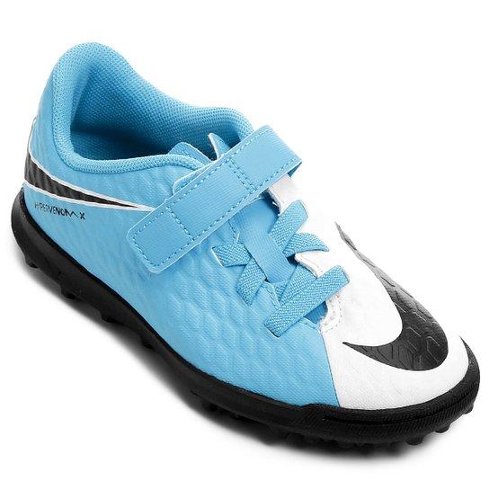 Chuteira Society Infantil Nike Hypervenom Phade 3 (V) TF - Branco+Azul f4748fc9df60a