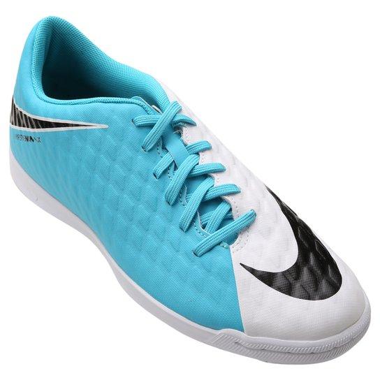 6d25dea73eba4 Chuteira Futsal Nike Hypervenom Phade 3 IC - Branco+Azul