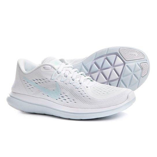 91ff7ce145c8e Tênis Nike Flex 2017 RN Feminino - Branco e Azul - Compre Agora ...