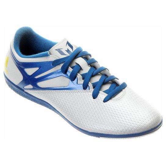 Chuteira Futsal Adidas Messi 15.3 IN Masculina - Branco+Azul Claro b26cf08e1b8d6