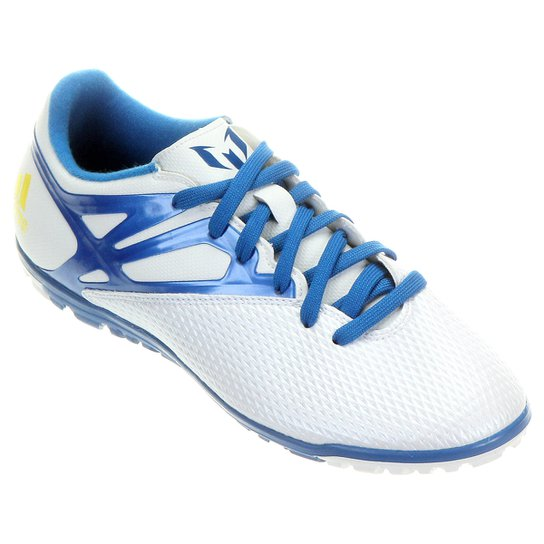 60865e436e Chuteira Society Adidas Messi 15.3 TF Masculina - Branco+Azul Claro
