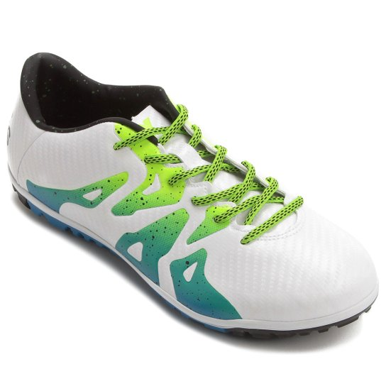 771d06573c Chuteira Society Adidas X 15.3 TF Masculina - Branco+Verde Limão