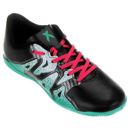 Chuteira Futsal Juvenil Adidas X 15.4 IN - Preto e verde - Compre ... 750781650cca1