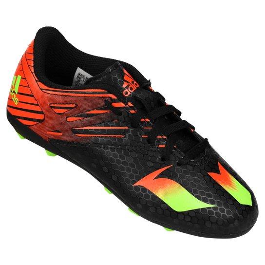 Chuteira Adidas Messi 15 4 FXG Campo Juvenil - Preto e Laranja ... dfe6abaa2ce38