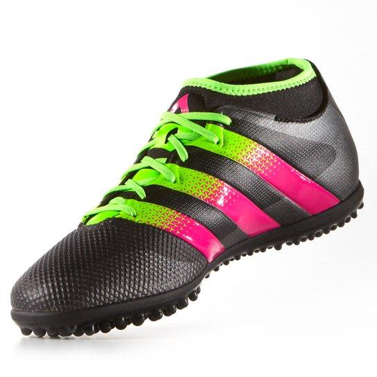 716377358 Chuteira Society Adidas Ace 16.3 Primemesh TF Masculina - Preto+Verde Limão