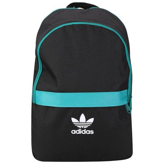 Mochila Adidas Originals Ess Adicolor - Preto+Verde Água aaa19ded31102