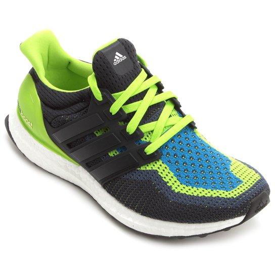 702286571c Tênis Adidas Ultra Boost Masculino - Preto+Verde Limão