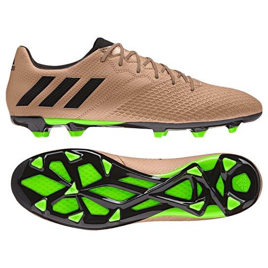 bbc6870e11 Chuteira Campo Adidas Messi 16.3 FG Masculina - Bronze e Preto ...