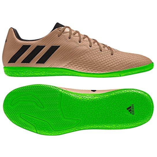 8f548697b71f6 Chuteira Futsal Adidas Messi 16.3 IN Masculina - Bronze e Preto ...