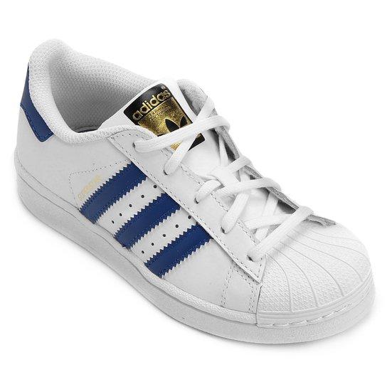 a02551736 Tênis Adidas Superstar Foundation El Infantil - Branco+Azul