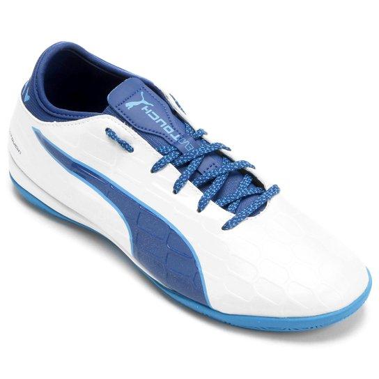 41c0fa4f3d Chuteira Futsal Puma Evotouch 3 IT - Branco e Azul - Compre Agora ...