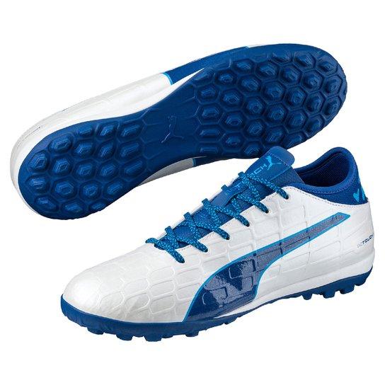 d4c96dfd4 Chuteira Society Puma Evotouch 3 TT - Branco e Azul - Compre Agora ...