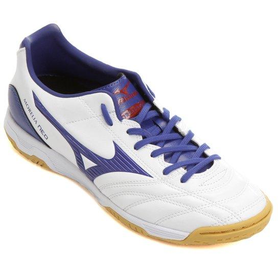 0857d0f496d22 Chuteira Futsal Mizuno Morelia Neo Classic Salão Masculina - Branco+Azul