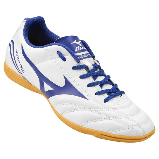 4023ca698d02b Chuteira Futsal Mizuno Morelia Neo Club IN Masculina - Branco e Azul ...