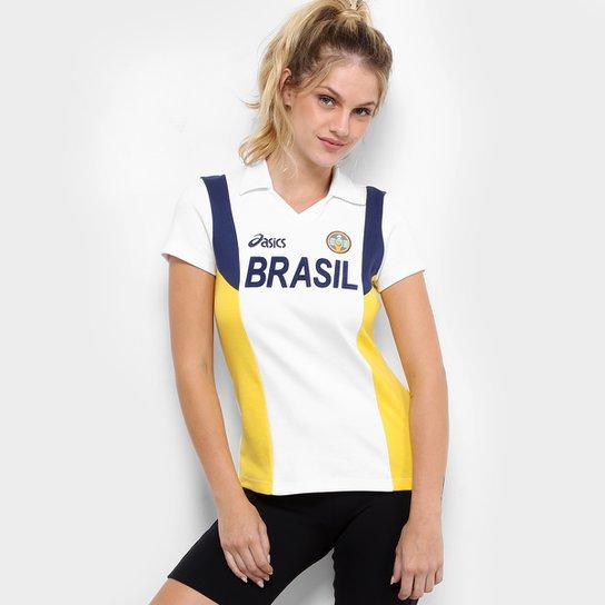 43522be8c1 Camisa Vôlei Brasil Rêtro Asics Feminina - Branco e Amarelo - Compre ...