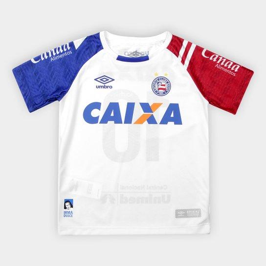 Camisa Bahia Infantil I 17 18 s nº - Torcedor Umbro - Branco e Azul ... 0fcdfc8d01646