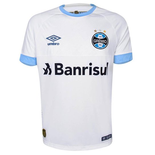fdd2f4cef2 Camisa Umbro Grêmio II 2018 N° 7 Masculina - Branco e Azul | Netshoes