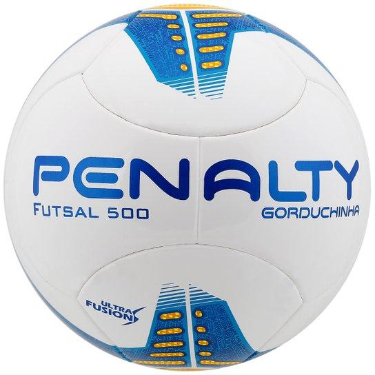 Bola Futebol Penalty Gorduchinha Ultra Fusion 5 Futsal - Branco+Azul e91a480cf1e8d