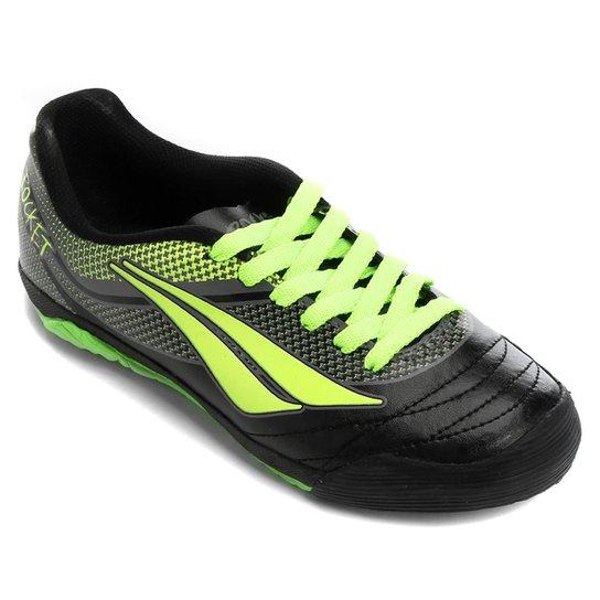Chuteira Futsal Infantil Penalty ATF K Rocket 7 - Preto e Verde ... 06992fbe9f53f
