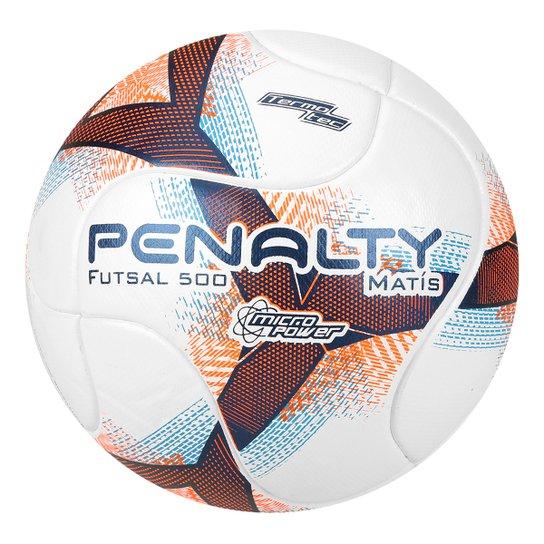 Bola Futsal Penalty Matis 500 Termotec VIII - Branco e Azul - Compre ... 4354dd34d0d7e