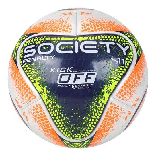 Bola Futebol Society Penalty S11 R1 KO VIII - Branco e Azul - Compre ... ee7efc102f861
