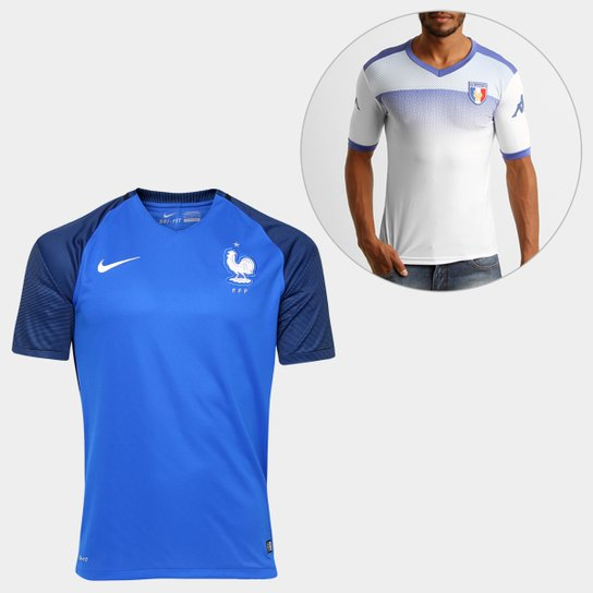 Kit Camiseta Kappa Kombat França + Camisa Nike Seleção França - Branco+Azul 6c51a82fca4b7