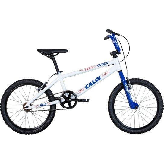 72d4d90cfe403 Bicicleta Caloi Cross Aro 20 - Branco+Azul