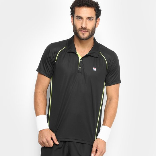 8f7341e87fd Camisa Polo Fila Cinci Masculina - Preto e verde - Compre Agora ...