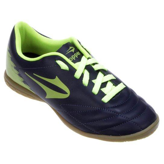 bbc0872bad850 Chuteira Futsal Topper Slick 2 Masculina - Marinho+Verde Limão