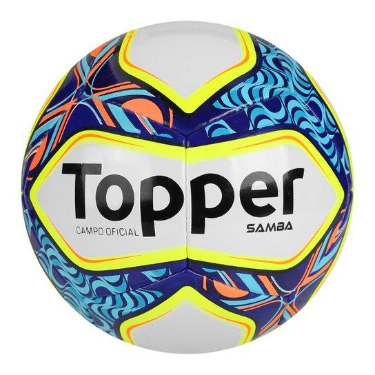 210ded65bee2b Bola Futebol Campo Topper Samba II - Branco e Azul - Compre Agora ...