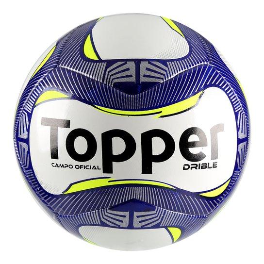 Bola Futebol Campo Topper Drible - Branco e Marinho - Compre Agora ... 9a620a5286036