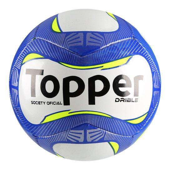 Bola Futebol Society Topper Drible - Branco e Azul - Compre Agora ... 7f64bf6581598