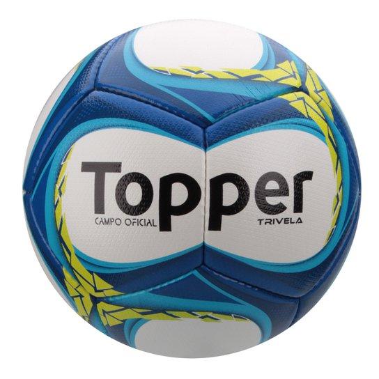 48536fb358e78 Bola Futebol Campo Topper Trivela V12 - Branco+Azul