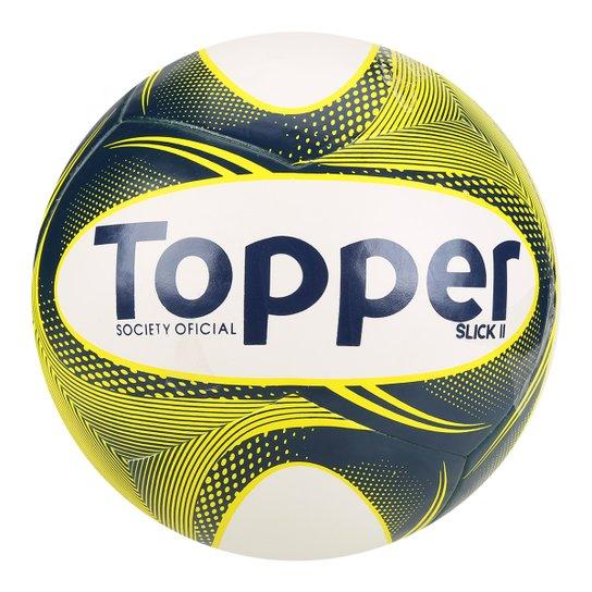 a09d4c952e Bola Futebol Society Topper Slick II - Branco e Azul - Compre Agora ...