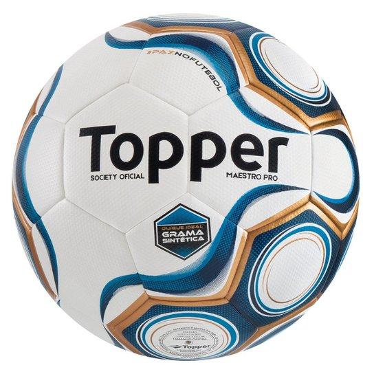 ed93584e0d565 Bola Futebol Topper Maestro Pro Society Grama Sin - Branco e Azul ...