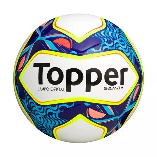 db89b27694bf6 Bola Futebol de Campo Samba Topper - Branco e Azul - Compre Agora ...