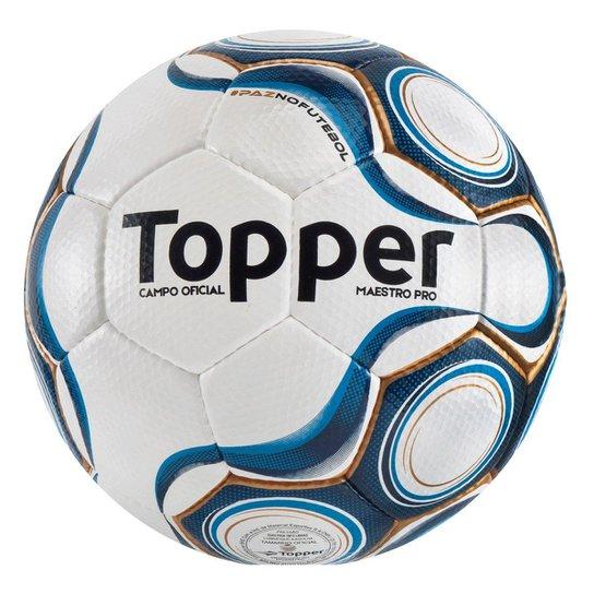 6162eff8ec869 Bola Topper Futebol Campo Maestro Pro Cpo - Branco e Azul - Compre ...