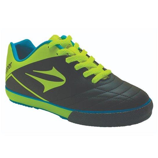 Chuteira Futsal Topper Frontier VII Infantil Masculina - Preto+verde 3c7656eeedfba