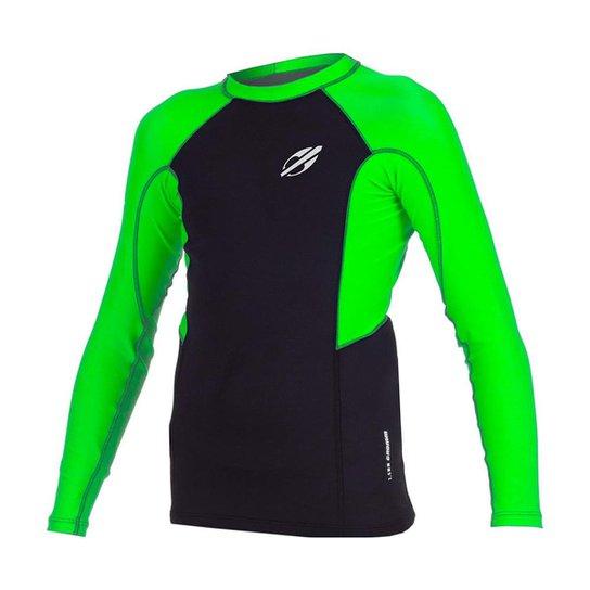 Camiseta Manga Longa Com Neoprene 1 Mm Infantil Grom 2A - Preto+verde bc123ebc1da