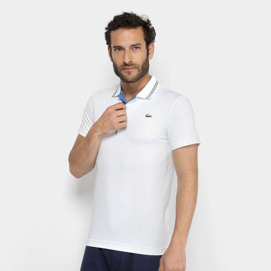 Camisa Polo Lacoste Golf Sport Strech Masculina - Branco e Azul ... 28c993f2fb