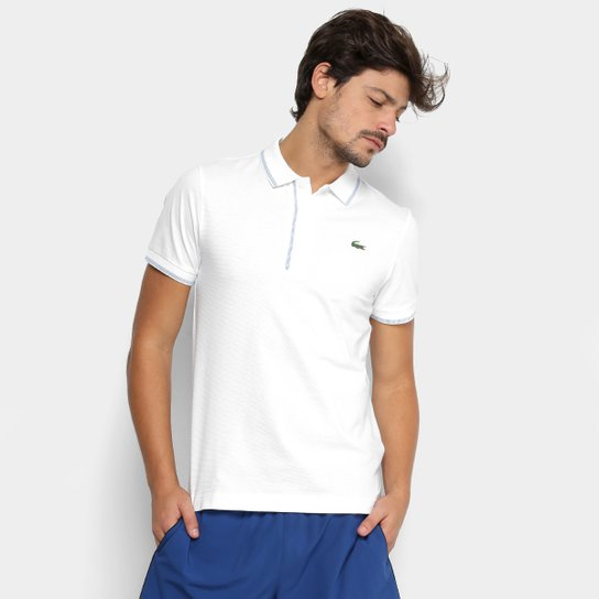 d240ae864d8af Camisa Polo Lacoste Masculina - Branco e Azul - Compre Agora