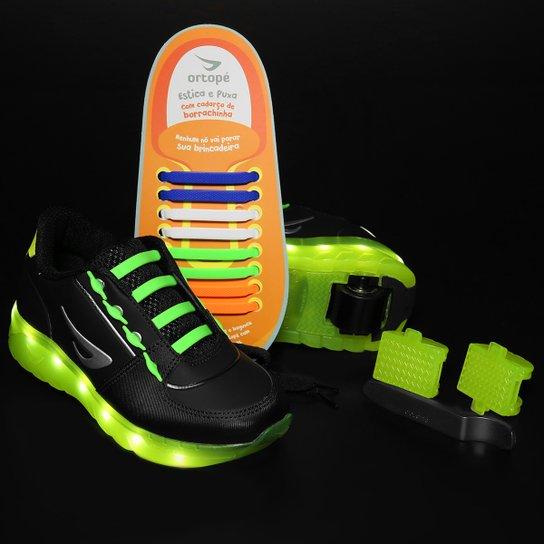 3e8071cfbdd99 Tênis Ortopé Estica E Puxa De Rodinha Led Infantil - Preto+Verde Limão